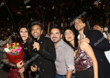 Stock Photo of Alessandra Rosaldo, Eugenio Derbez, Jose Eduardo Derbez, Aislinn Derbez and Vadhir Derbez