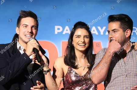 Stock Image of Vadhir Derbez, Aislinn Derbez and Jose Eduardo Derbez