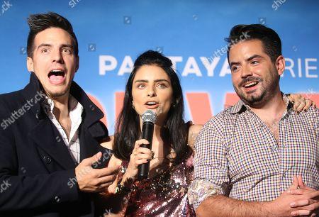 Stock Picture of Vadhir Derbez, Aislinn Derbez and Jose Eduardo Derbez