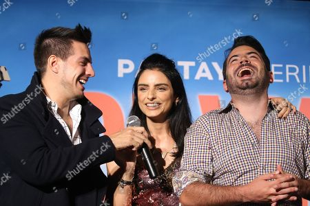 Stock Picture of Vadhir Derbez, Aislinn Derbez and Jose Eduardo Derbez
