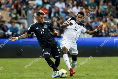 Stock Image of Cristian Calderon (L) of Mexico in action against Edgar Barcenas (R) of Panama during the CONCACAF Nation's League soccer match between Mexico and Panama at the Azteca Stadium in Mexico City, Mexico, 15 October 2019.
