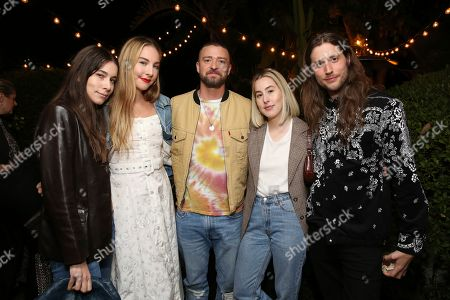 Danielle Haim, Este Haim, Justin Timberlake, Alana Haim, Ludwig Goransson. Danielle Haim, Este Haim, Justin Timberlake, Alana Haim and Ludwig Goransson attend the Levi's Music Project with Justin Timberlake and FW19 Collection Launch at the Levi's Haus, in Los Angeles