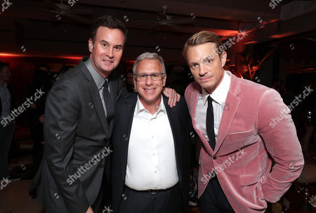 """Zack Van Amburg, head of Apple Video, Philip Schiller, Senior Vice President of Worldwide Marketing for Apple, and Joel Kinnaman at the """"For All Mankind"""" Apple TV+ World Premiere Celebration at the Sunset Tower Hotel"""