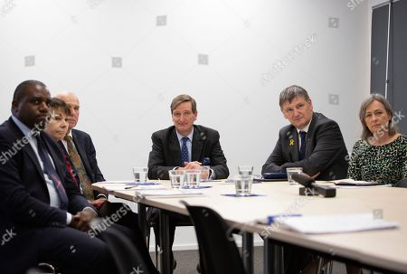 British MP's, brought to Brussels by the campaign group Best for Britain, from left, David Lammy, Caroline Lucas, Vince Cable, Dominic Grieve, Peter Grant and Liz Saville Roberts pose prior to speaking with the media at the IPC building in Brussels, . European Union and British negotiators have failed to get a breakthrough in the Brexit talks during a frantic all-night session and will continue seeking a compromise on the eve of Thursday's crucial EU summit