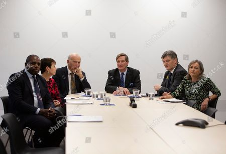 Stock Picture of British MP's, brought to Brussels by the campaign group Best for Britain, from left, David Lammy, Caroline Lucas, Vince Cable, Dominic Grieve, Peter Grant and Liz Saville Roberts pose prior to speaking with the media at the IPC building in Brussels, . European Union and British negotiators have failed to get a breakthrough in the Brexit talks during a frantic all-night session and will continue seeking a compromise on the eve of Thursday's crucial EU summit