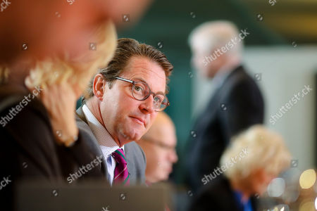German Transportation Minister Andreas Scheuer attends the weekly cabinet meeting of the German government at the chancellery in Berlin