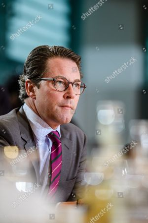 German Minister of Transport and Digital Infrastructure Andreas Scheuer looks on during the beginning of the weekly meeting of the German Federal cabinet at the Chancellery in Berlin, Germany, 16 October 2019. During the 71st cabinet meeting, the ministers and the Chancellor are expected to discuss, among others, a draft law concerning the modification of the air traffic taxation.