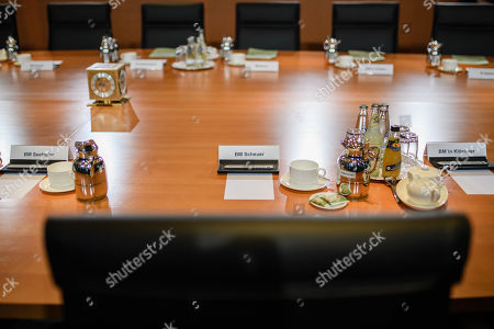The unoccupied place of German Minister of Transport and Digital Infrastructure Andreas Scheuer (not in the picture) during the beginning of the weekly meeting of the German Federal cabinet at the Chancellery in Berlin, Germany, 16 October 2019. During the 71st cabinet meeting, the ministers and the Chancellor are expected to discuss, among others, a draft law concerning the modification of the air traffic taxation.
