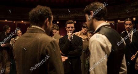 Olivier Gourmet as Constant Coquelin, Thomas Soliveres as Edmond Rostand, Tom Leeb as Leonidas Leo Volny and Simon Abkarian as Ange Floury