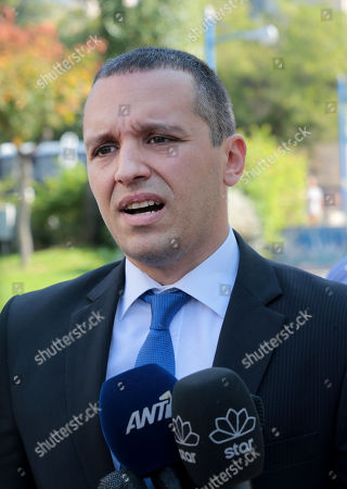 Ilias Kasidiaris, a former Member of Parliament (MP) of the extreme-right Golden Dawn party, makes statements to the media after testifying at a criminal appeals court in Athens, Greece, 16 October 2019. A total of 18 Golden Dawn officials who were elected in Greek Parliament in 2012, are to testify in court as suspects. The trial began on 20 April 2015 and the  extensive case file includes charges against party MPs of setting up a criminal organization.