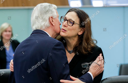 Michel Barnier (L), the EU's Chief Negotiator for the United Kingdom Exiting the European Union - dubbed Brexit -, and European Commissioner for Trade Cecilia Malmstrom (R) attend the weekly College of Commissioners meeting in Brussels, Belgium, 16 October 2019. Brexit talks continue in Brussels ahead of a EU summit scheduled for 17 and 18 October.