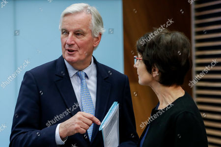 Michel Barnier (L), the EU's Chief Negotiator for the United Kingdom Exiting the European Union - dubbed Brexit -, and European Commissioner for Employment, Social Affairs, Skills and Labour Mobility Marianne Thyssen (R) attend the weekly College of Commissioners meeting in Brussels, Belgium, 16 October 2019. Brexit talks continue in Brussels ahead of a EU summit scheduled for 17 and 18 October.