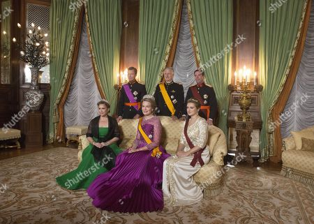 Queen Mathilde and King Philippe, Grand Duke Henri of Luxembourg and Grand Duchess Maria Teresa of Luxembourg and Hereditary Grand Duke Guillaume of Luxembourg and Grand Duchess Stephanie of Luxembourg pose for the media on the 1st day of the 3 day state visit to Luxembourg.