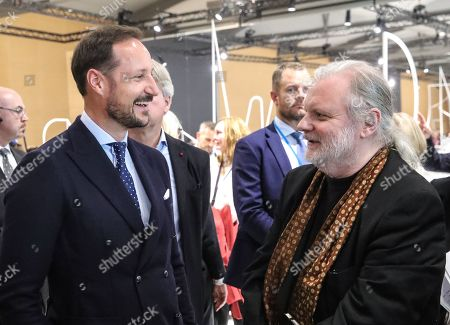 Norwegian Crown Prince Haakon (L) meets with Norwegian author Jon Fosse (R) at the Norwegian pavilion at the Frankfurt Book Fair 2019 in Frankfurt Main, Germany, 16 October 2019. The 71st edition of the international Frankfurt Book Fair, described as the world's most important fair for the print and digital content business, runs from 16 to 20 October and gathers authors, writers and celebrities from all over the world.