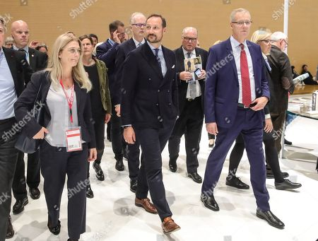 Norwegian Crown Prince Haakon (C) arrives at the Norwegian pavilion at the Frankfurt Book Fair 2019 in Frankfurt Main, Germany, 16 October 2019. The 71st edition of the international Frankfurt Book Fair, described as the world's most important fair for the print and digital content business, runs from 16 to 20 October and gathers authors, writers and celebrities from all over the world.