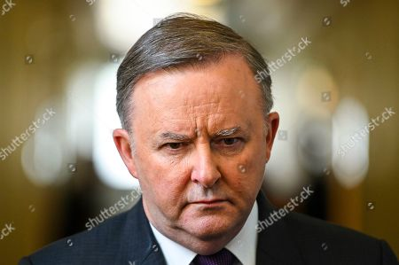 Stock Image of Australian Opposition Leader Anthony Albanese speaks to the media during a press conference at Parliament House in Canberra, Australian Capital Territory, Australia, 16 October 2019.