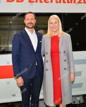 Crown Princess Mette-Marit and Crown Prince Haakon arrive for the Frankfurt Book fair on the literature train at the central station in Frankfurt.