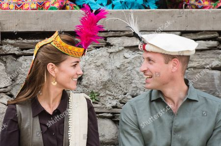 Stock Picture of Prince William and Catherine Duchess of Cambridge visit a settlement of the Kalash people, to learn more about their culture and unique heritage in Chitral, Pakistan