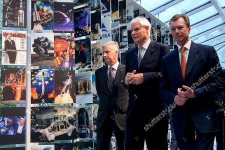 Grand Duke Jean of Luxembourg, King Philippe at the Societe Europeenne des Satellites