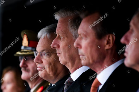 King Philippe, Grand Duke Henri of Luxembourg, Didier Reynders at the Diekirch Military Center