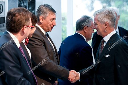 Stock Photo of King Philippe, Jan Jambon, Elio Di Rupo, Rudi Vervoort at the Societe Europeenne des Satellites