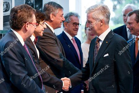 King Philippe, Jan Jambon, Elio Di Rupo, Rudi Vervoort at the Societe Europeenne des Satellites