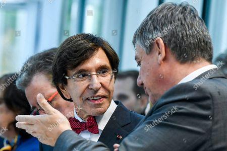 Jan Jambon, Elio Di Rupo, Rudi Vervoort at the Societe Europeenne des Satellites