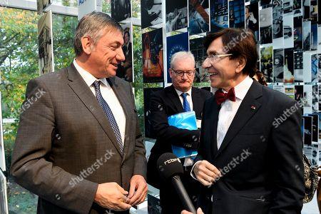 Jan Jambon, Elio Di Rupo at the Societe Europeenne des Satellites