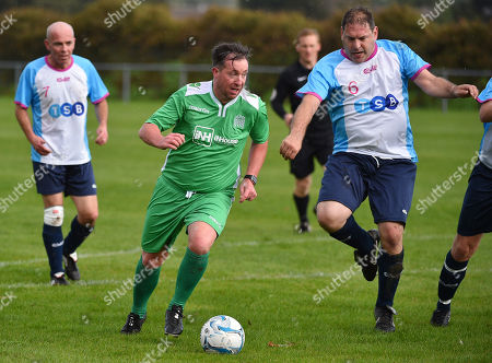 Labour Party Conference Liverpool Merseyside.- Former Liverpool Player Robbie Fowler (green) - Labour Party V Media Football Match At Walton Park Football Grounds Liverpool.  - 23/9/18.