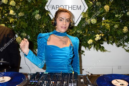 Stock Picture of Chelsea Leyland attends the launch of Apothem exclusively at Harvey Nichols
