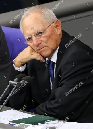 The President of the German Bundestag Wolfgang Schaeuble attends a session of the German parliament 'Bundestag' in Berlin, Germany, 16 October 2019. Members of the Bundestag debate on the property tax among others.