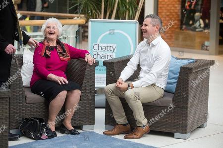 Scottish Govenement finance minister Derek Mackay talking to Ina Sellars from Paisley.