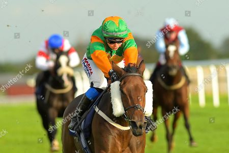 Stock Photo of Winner of The Nailsea Electrical Kitchen and Appliance Fillies' Handicap Gamesters Icon ridden by Megan Nicholls and trained by Oliver Greenall  during Horse Racing at Bath Racecourse on 16th October 2019