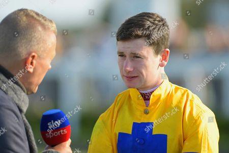 Jockey Oisin Murphy talks to Sky Racing presenter Matt Chapman during Horse Racing at Bath Racecourse on 16th October 2019