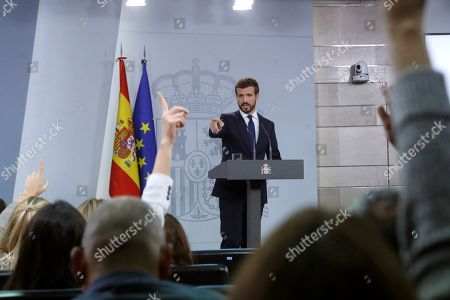 Leader of People's Party (PP), Pablo Casado, holds a press conference following his meeting with acting Spanish Prime Minister, Pedro Sanchez, at the Palace of La Moncloa in Madrid, Spain, 16 October 2019. Casado has asked Sanchez to send a notification to Catalan regional President Quim Torra to observe all his 'constitutional and legal duties' if the implementation of the Spanish Constitution's 155 article is needed. Sanchez has separately convened the three main political party's leaders Casado, Ciudadano's Albert Rivera and Unidas Podemos' Pablo Iglesias to analyse the escalation of violence following the Supreme Court announced the 'proces' sentence against the Catalan political leaders accused of the organization of the Catalan illegal referendum held in 2017. EFE/ Juan Carlos Hidalgo