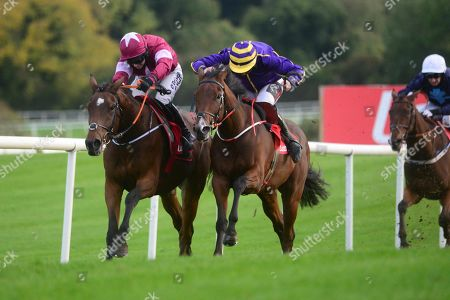 Punchestown FANTASIO D'ALENE & Lisa O'Neill (left) get the better of GOOD TIME JONNY & Jamie Codd (right) to win the Ladbrokes Flat Race