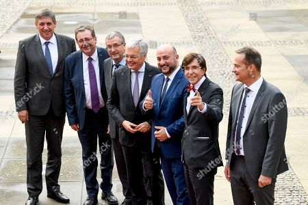 Stock Photo of Jan Jambon, Rudi Vervoort, Pierre-Yves Jeholet, Didier Reynders and Elio Di Rupo attend the 'Space Symposium of Belgium and Luxembourg', a collaborative journey addressing future space challenges, before they visit a photography exhibition on sexual violence titled 'Stand Speak Rise Up!' organized by HRH the Grand Duchess.