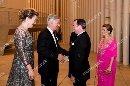 Stock Photo of Queen Mathilde and King Philippe with Hereditary Grand Duke Guillaume of Luxembourg and Grand Duchess Stephanie of Luxembourg