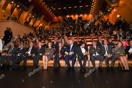 Stock Image of Queen Mathilde, King Philippe, Grand Duke Henri of Luxembourg, Elio Di Rupo, Jan Jambon and Didier Reynders visit the 'Space Symposium of Belgium and Luxembourg', a collaborative journey addressing future space challenges, before they visit a photography exhibition on sexual violence titled 'Stand Speak Rise Up!' organized by HRH the Grand Duchess.