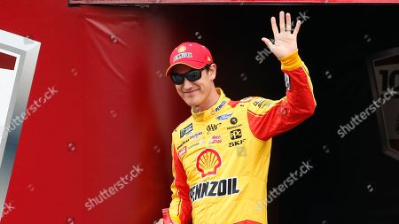 Monster Energy NASCAR Cup Series driver Joey Logano (22) waves at driver introductions during a NASCAR Cup Series auto race at Talladega Superspeedway, in Talladega, Ala