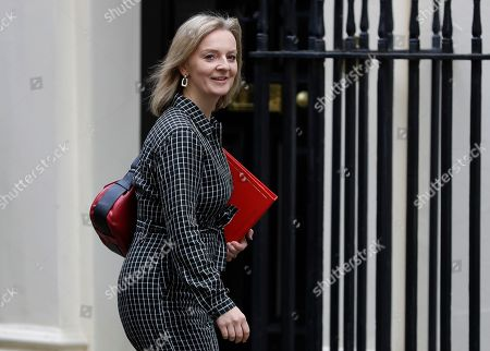 Stock Image of Britain's Secretary of State for International Trade Elizabeth Truss arrives for a Cabinet meeting at 10 Downing Street in London, . The European Union's chief Brexit negotiator says talks between the EU and Britain on the country's departure from the bloc are continuing after running through the night but that obstacles remain
