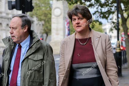 Deputy leader of the Democratic Unionist Party (DUP) Nigel Dodds and leader of the Democratic Unionist Party (DUP) Arlene Foster leaves Cabinet Office