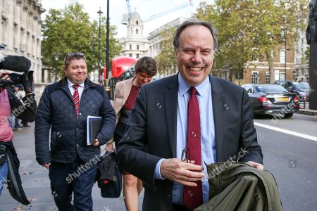 Deputy leader of the Democratic Unionist Party (DUP) Nigel Dodds leaves Cabinet Office