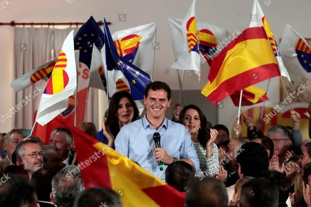 Leader of Ciudadanos Party Albert Rivera, Ciudadanos party's parliamentary spokesperson Ines Arrimadas and regional parliamentary spokewoman Lorena Roldan (L) attend a party rally in Barcelona, Spain, 16 October 2019. Spanish acting Prime Minister Pedro Sanchez has separately convened the three main political party's leaders PP's Pablo Casado, Ciudadano's Albert Rivera and Unidas Podemos' Pablo Iglesias to analyse the escalation of violence following the Supreme Court announced the 'proces' sentence against the Catalan political leaders accused of the organization of the Catalan illegal referendum held in 2017.