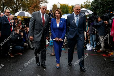 Nancy Pelosi, Chuck Schumer, Steny Hoyer. Speaker of the House Nancy Pelosi of Calif., center, Senate Minority Leader Sen. Chuck Schumer of N.Y., right, and House Majority Leader Steny Hoyer of Md., walk from the microphones after speaking with reporters following a meeting with President Donald Trump at the White House, in Washington