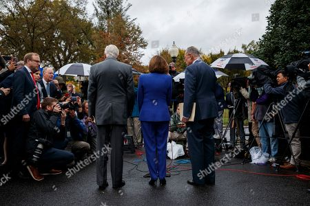 Nancy Pelosi, Chuck Schumer, Steny Hoyer. Speaker of the House Nancy Pelosi of Calif., center, Senate Minority Leader Sen. Chuck Schumer of N.Y., right, and House Majority Leader Steny Hoyer of Md., talk with reporters following a meeting with President Donald Trump at the White House, in Washington