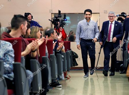 US mathematician and engineer Salman Khan (C-L) and rector of the University of Oviedo Santiago Garcia Granda (R) react during a meeting with students at the Faculty for Teacher Formation of the University of Oviedo in Spain, 16 October 2019. Salman Khan will receive the 2019 Princess of Asturias Award for International Cooperation in the handover ceremony that will be held in Oviedo on the upcoming 18 October.