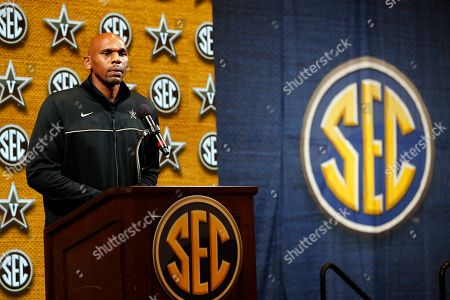 Vanderbilt head coach Jerry Stackhouse speaks during the Southeastern Conference NCAA college basketball media day, in Birmingham, Ala