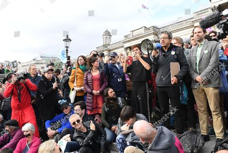 British journalist, George Monbiot speaks to supporters before being arrested during an Extinction Rebellion protest in London, Britain, 16 October 2019. Global climate movement Extinction Rebellion announced climate change protests and blockades worldwide for two weeks starting 07 October.
