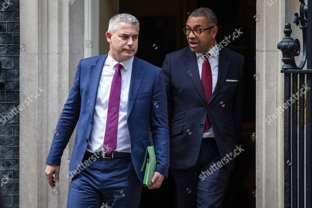 Secretary of State for Exiting the European Union Stephen Barclay (L) and Minister Without Portfolio James Cleverly (R) leave 10 Downing Street after the Cabinet meeting.